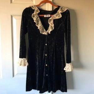 Vintage 90s Emily West Crushed Velvet /& Lace Dress